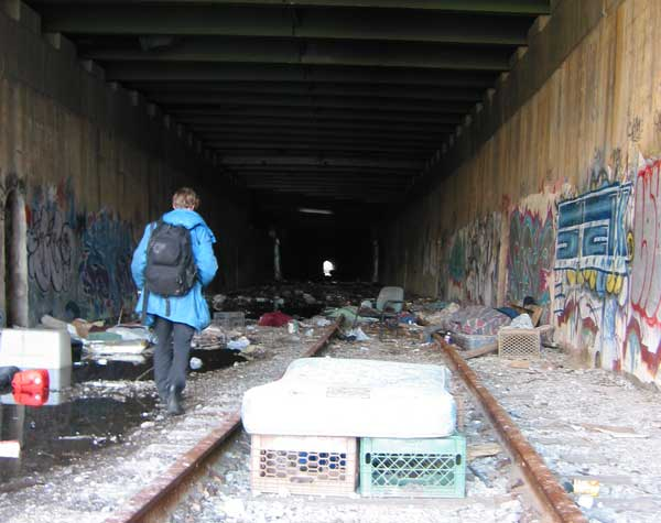 Homeless camp in the old tunnel under St. Marys park. We later found a body down here.
