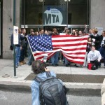 Crowd outside MTA headquarters